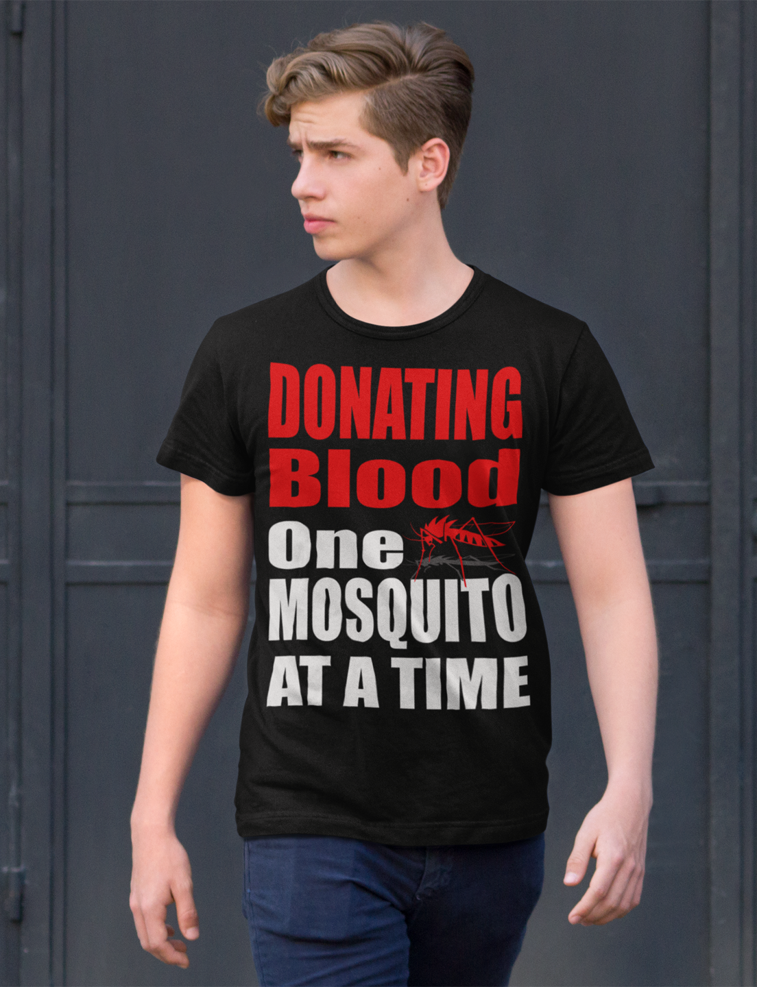 Donating Blood One Mosquito Funny #Camping #Camp Tent Outdoors Humor Mens T-Shirt. You can purchase yours here: https://teespring.com/donating-blood-camping-t-shirt