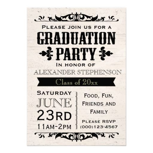 Rustic Vintage Beige Graduation Party Invitation Great For An Outdoor Grad Cookout Or Bbq