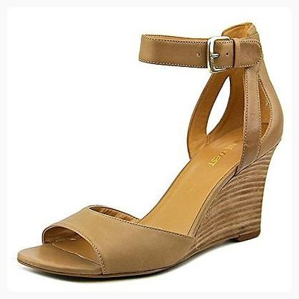 Nine West Womens rylano Leather Open Toe Casual Platform Sandals Tan Size 85