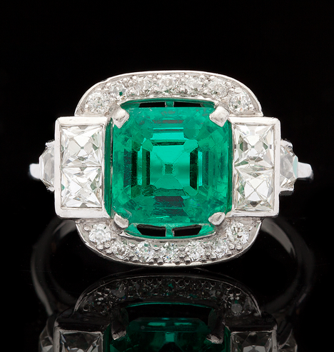 2.74ct Asscher Cut Platinum Art Deco Ring Adorned with 6 French Cut Diamonds for approximately 0.72ct and 14 Round Cut Diamonds for 0.20ct, totaling 0.92ct diamond weight.