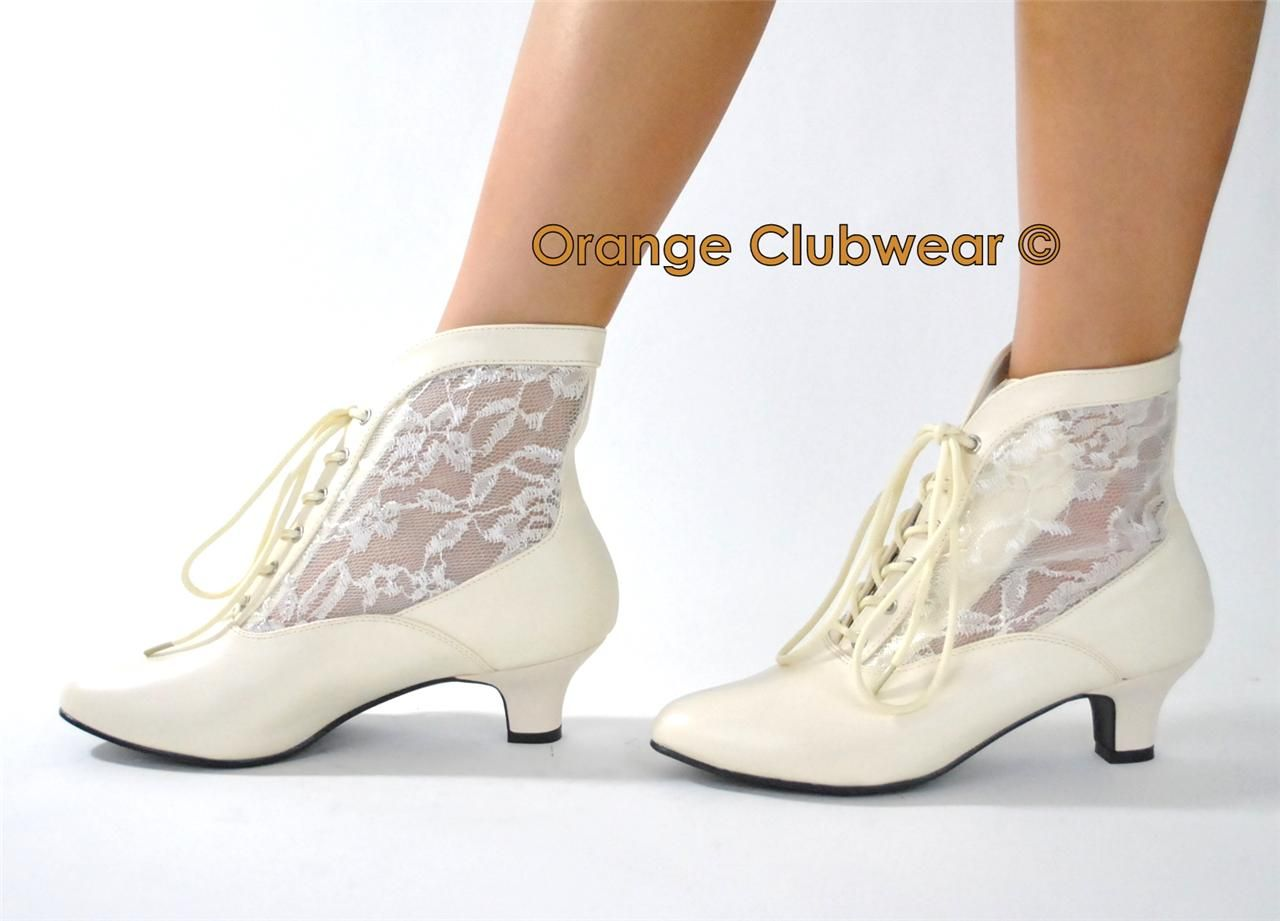 Pleaser Victorian Style Ivory Lace Granny Wild West Old Fashioned Wedding Boots Ebay