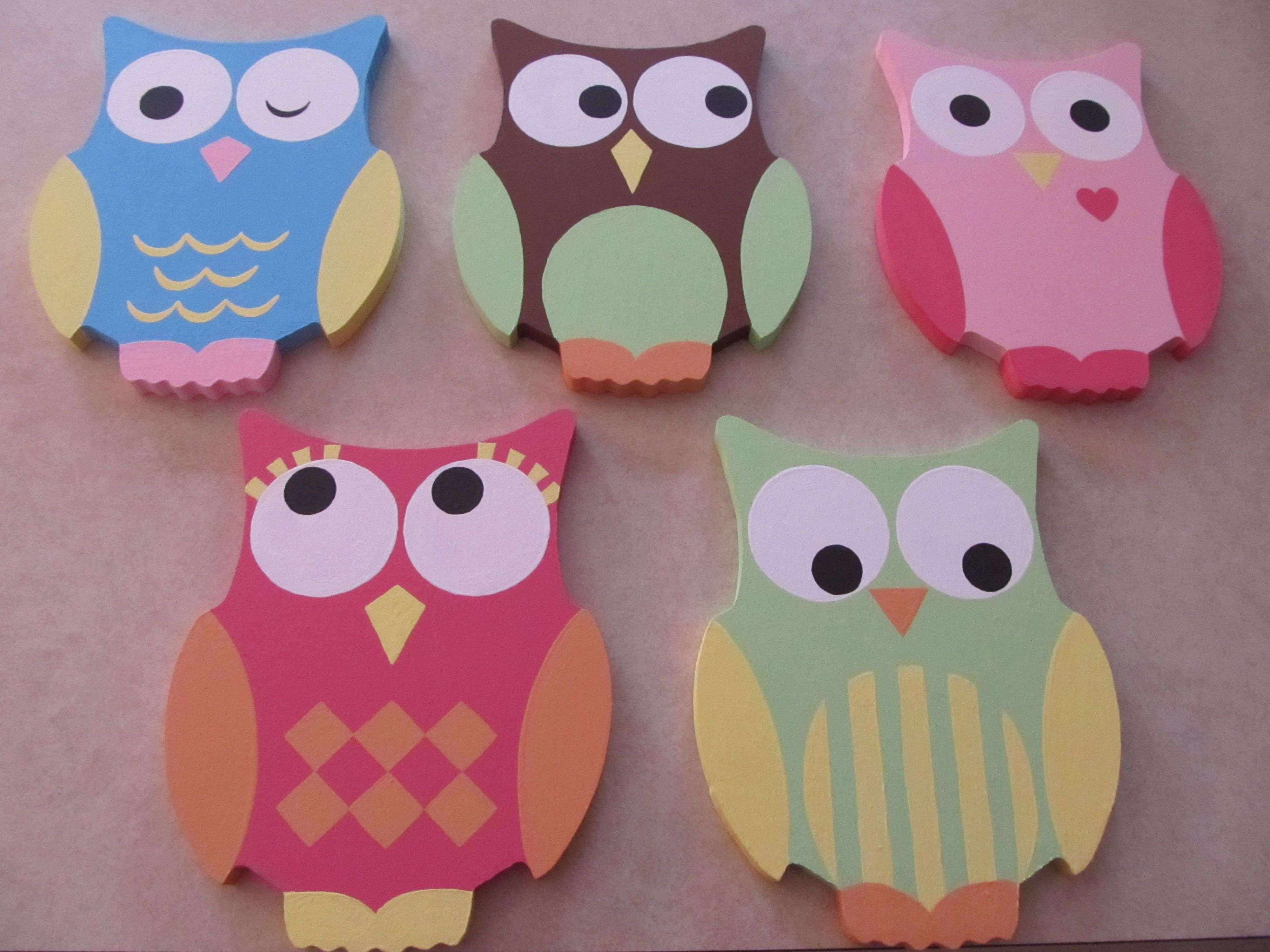 painted wooden owls to decorate the kids' bathroom. | things i've