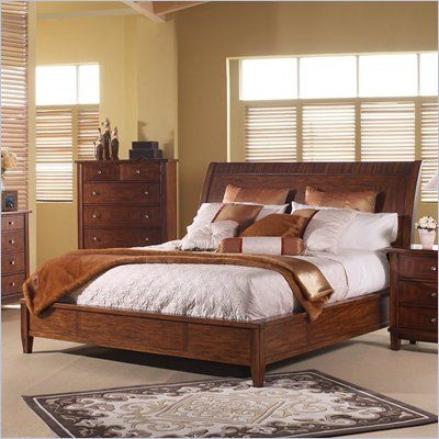 Somerton Runway Contemporary Sleigh Bed in Warm Brown Finish - 140-B