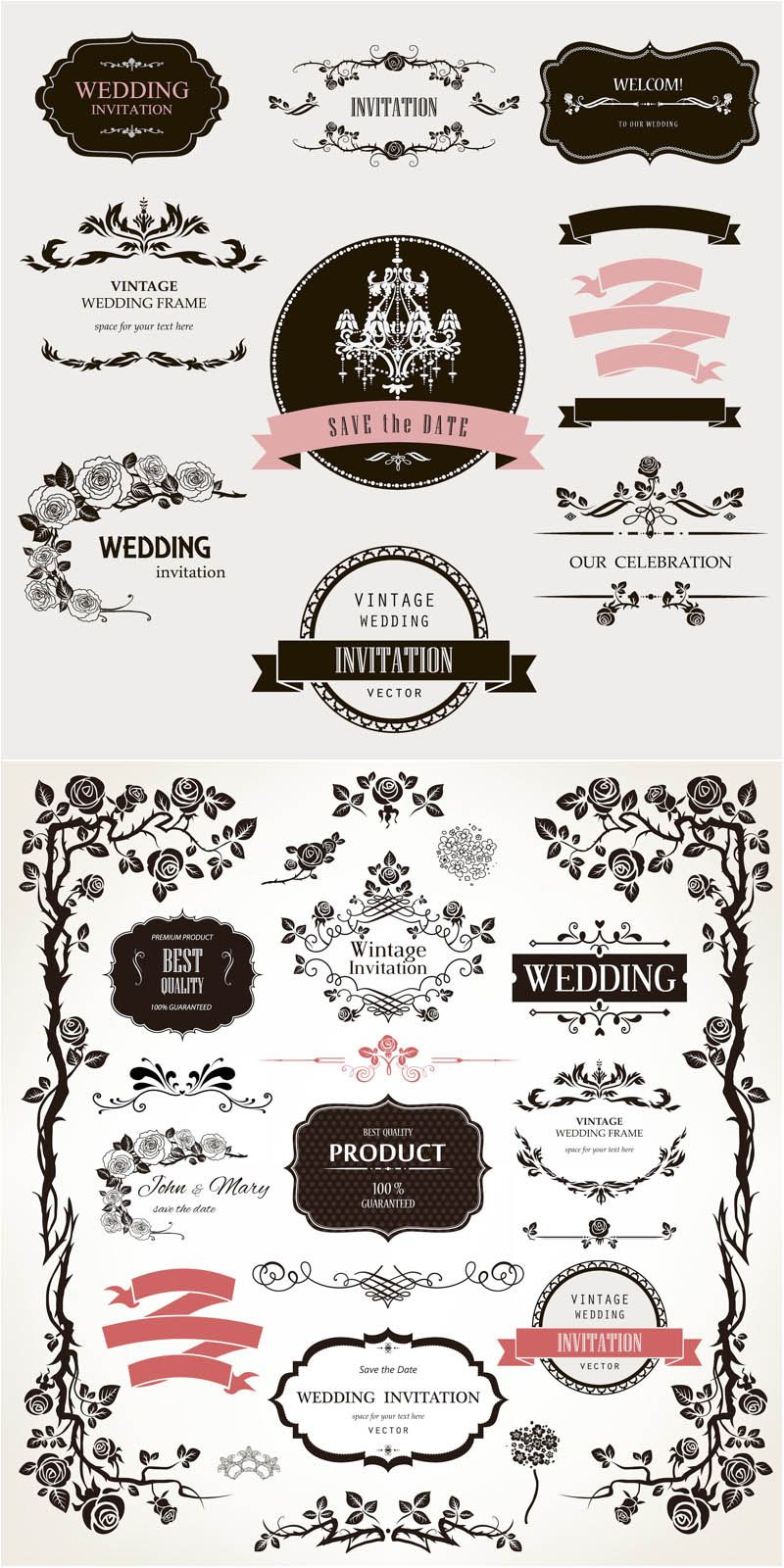 Decorative Floral Wedding Design Elements Vector Desain Grafis