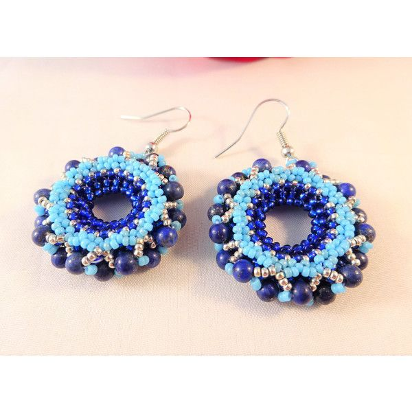 Blue Beadwork Jewelry Womans Gemstone Earrings, Bead Jewelry for Wife,... (665 UAH) ❤ liked on Polyvore featuring jewelry, earrings, gem earrings, blue gemstone earrings, beaded earrings, blue gemstone jewelry and gem jewelry