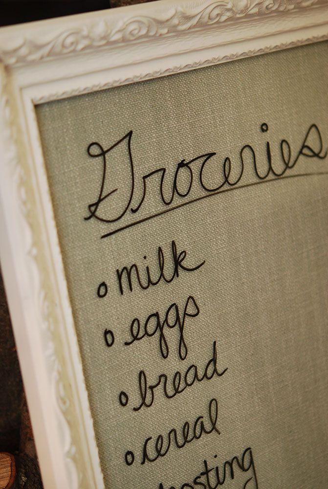 Burlap under nice frame.  Use dry-erase marker on glass to add notes, quotes, etc. Nice idea for office and/or kitchen instead of chalkboard in frame.