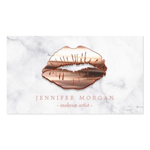 Trendy Marble Rose Gold 3d Lips Makeup Artist Business Card Makeup
