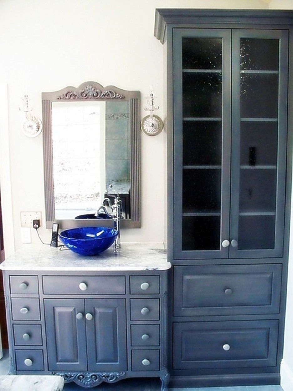 Furniture Black Wooden Bathroom Cabinet With Glass Doors And Double