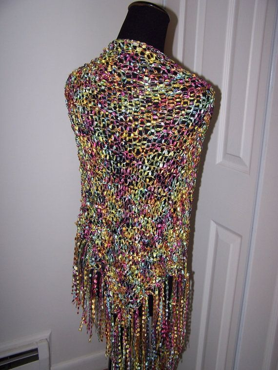 Knit Shawl Ladder Ribbon Yarn Wrap Triangular by WeeCatCreations ...