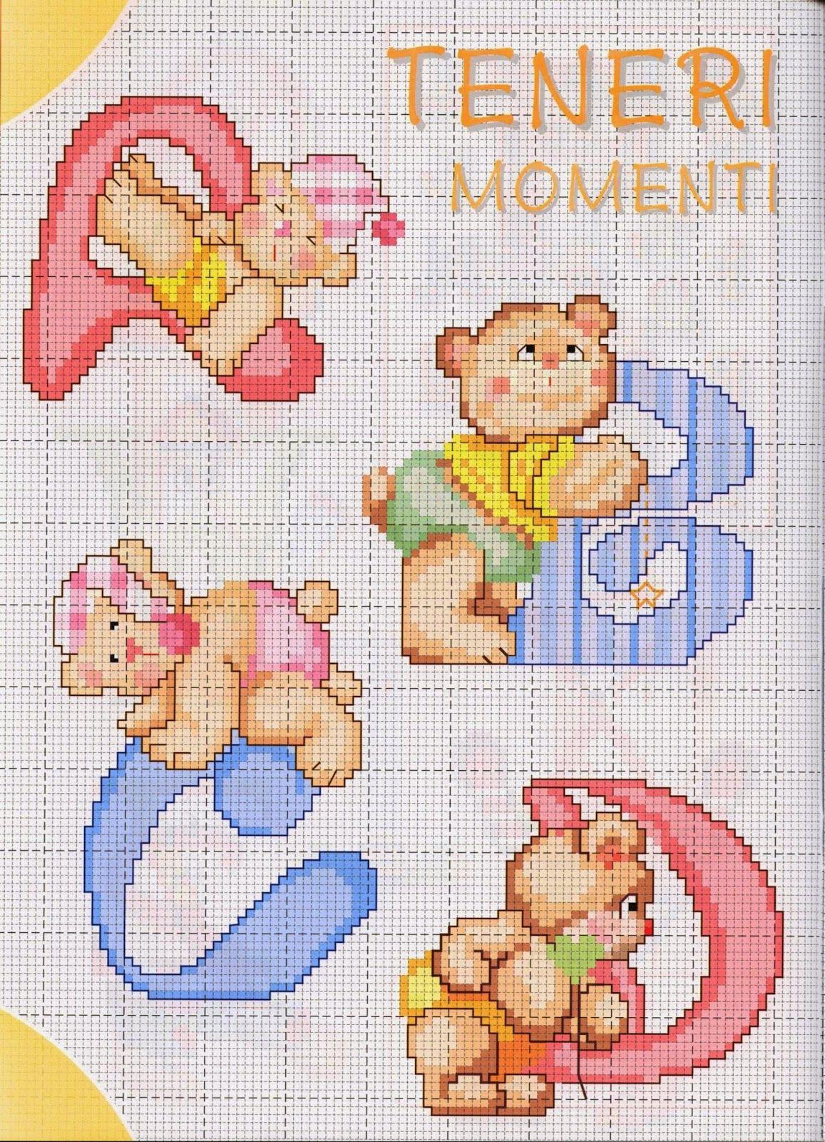Ponto cruz alfabeto ursinhos gr ficos ponto cruz - Pagine da punto a punto per bambini ...