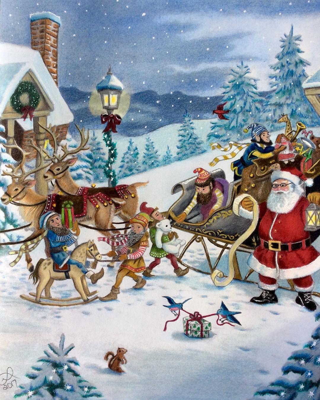Christmas Tags Be Merry Santa/'s Sleigh Snow Scene Tags 12