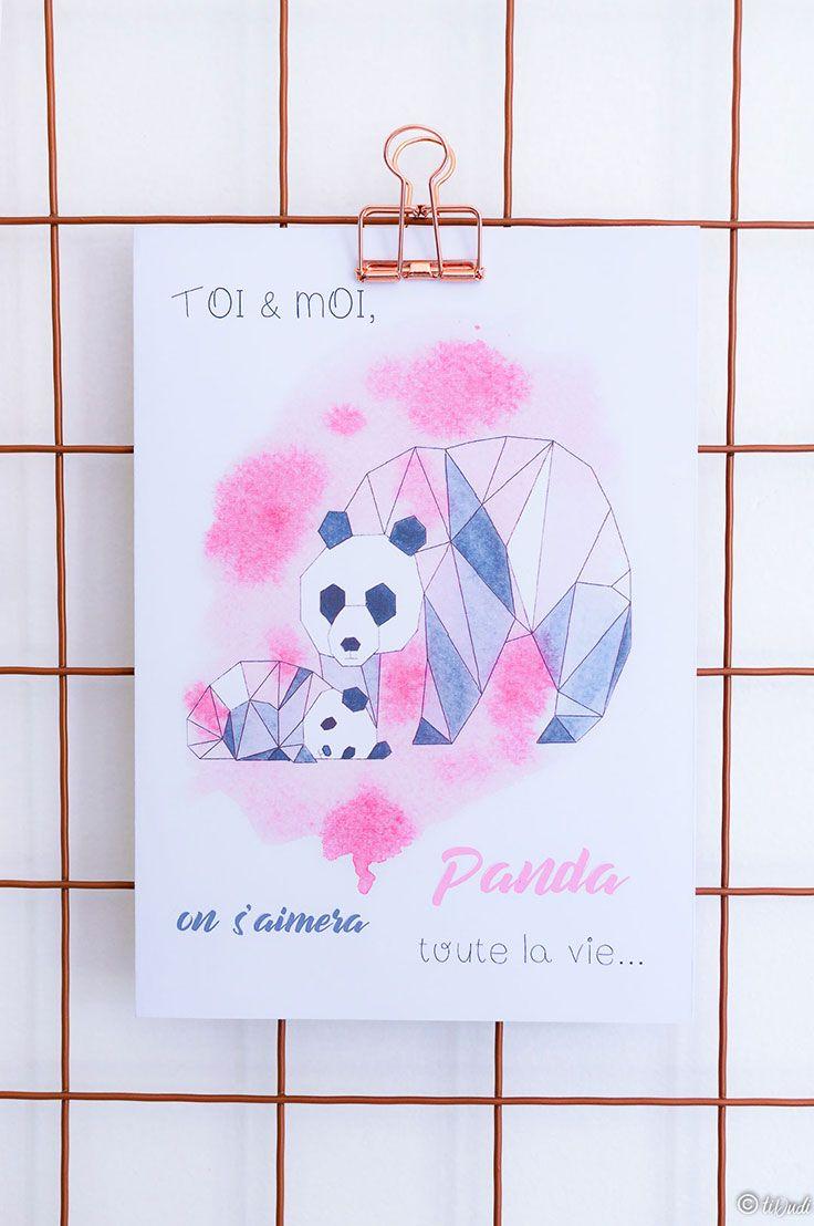 Carte Pandas Origami Et Aquarelle Fete Des Meres Dessin Mickey