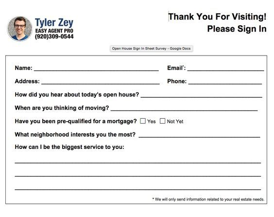 Stupendous image inside free printable open house feedback form