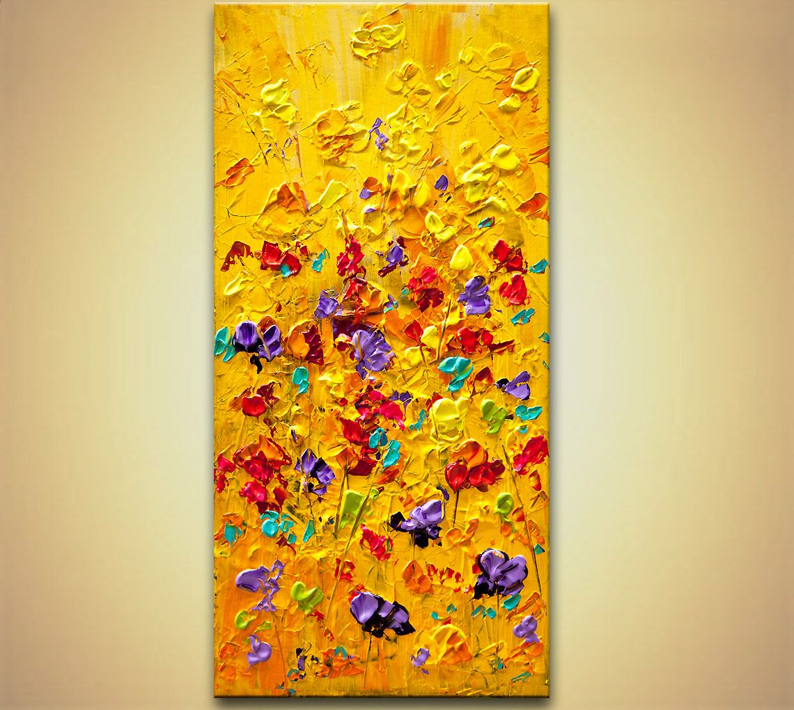 colorful floral painting modern palette knife heavy texture wall ...