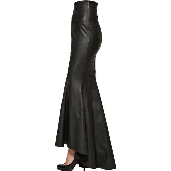 JOSE' SANCHEZ Stretch Nappa Leather Mermaid Skirt - Black