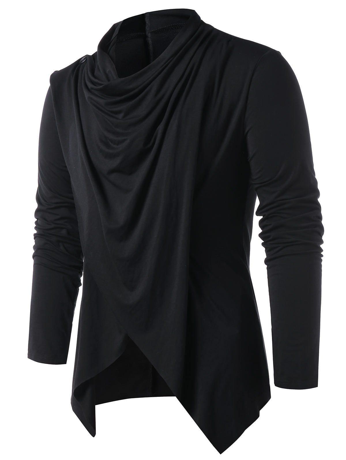 9d5a43278073be Convertible Asymmetrical Cardigan - BLACK XL
