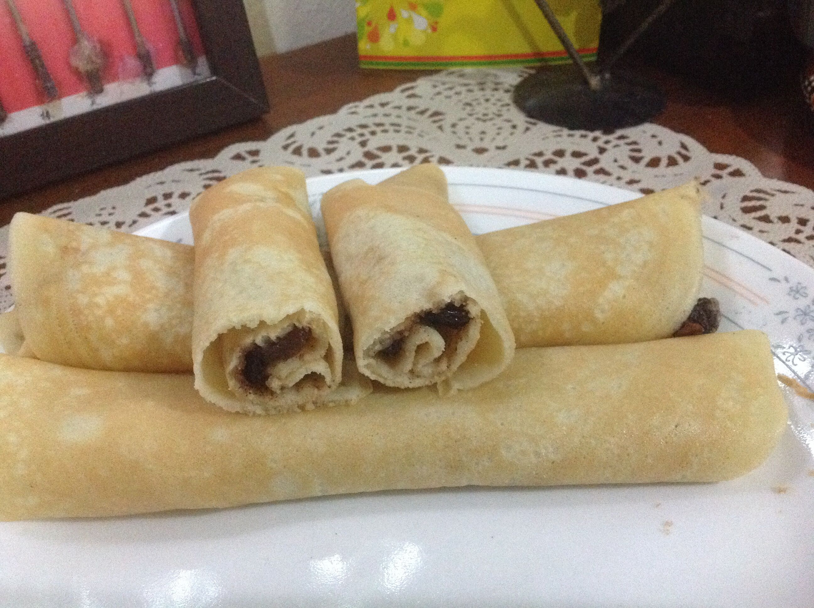 Cinnamon raisin crepe for breakfast Made from balance waffle batter.