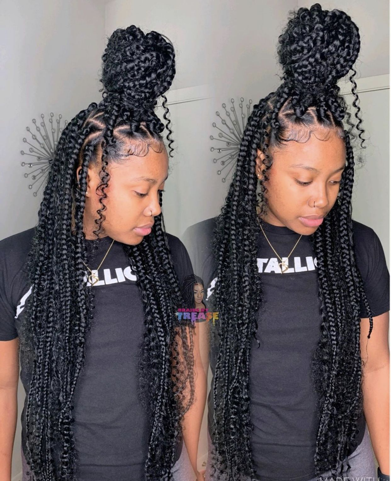 Goddess Box Braids With Color