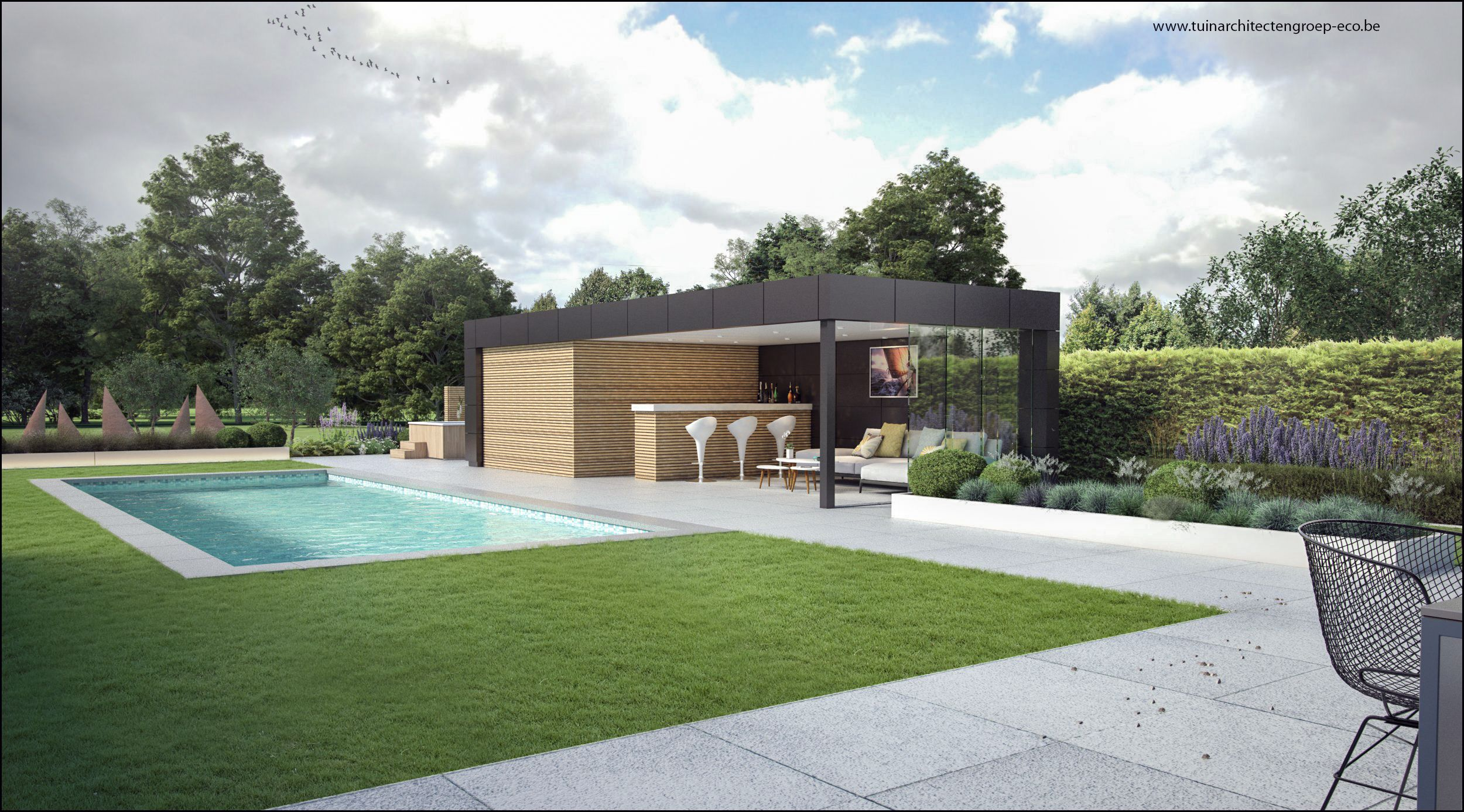 Tuinontwerp moderne tuin met poolhouse en zwambad for 3d tuinarchitect