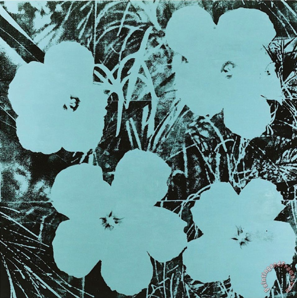 Flowers C 1967 Blue Painting by Andy Warhol