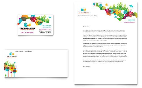 Youth Program Business Card  Letterhead Template Design