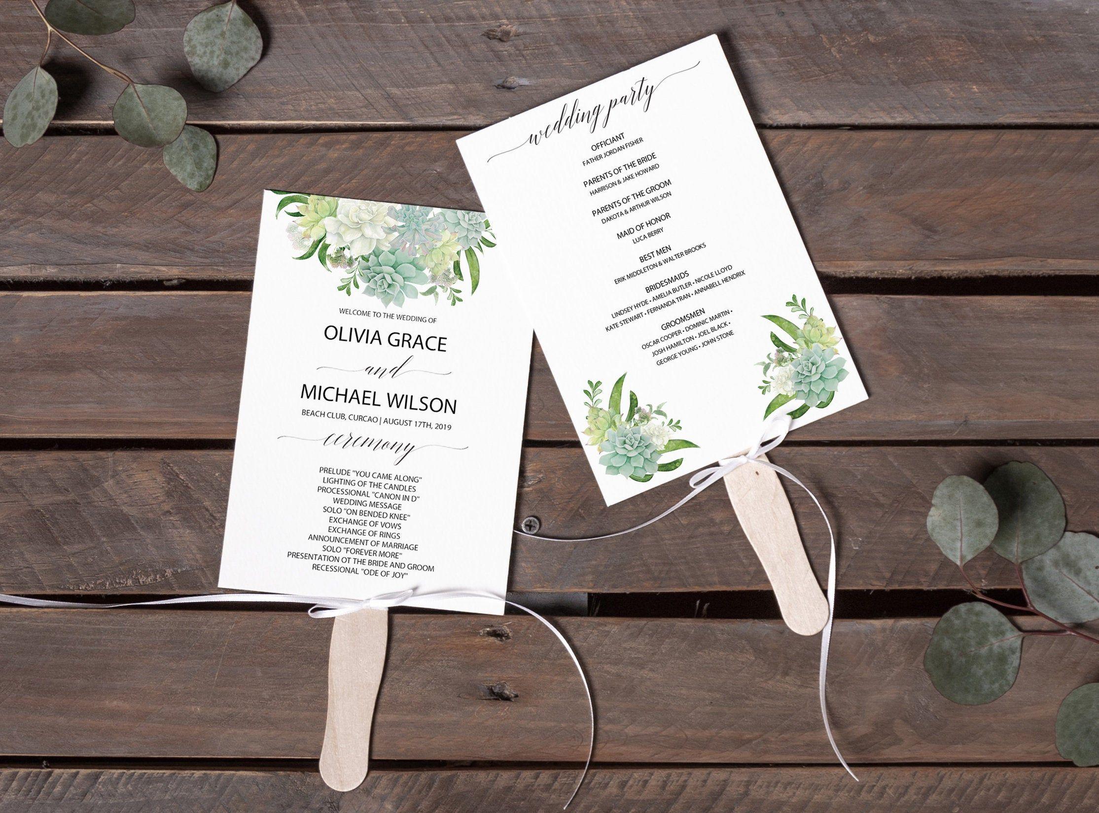 Succulent Program Fan Assembled Printable Template Tropical Etsy Wedding Programs Template Template Printable Program Fans
