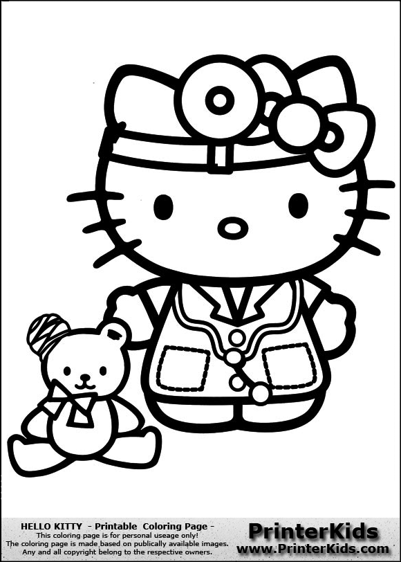 Hello Kitty Doctor Coloring Pages | Hello Kitty - Doctor Kitty - Coloring Page