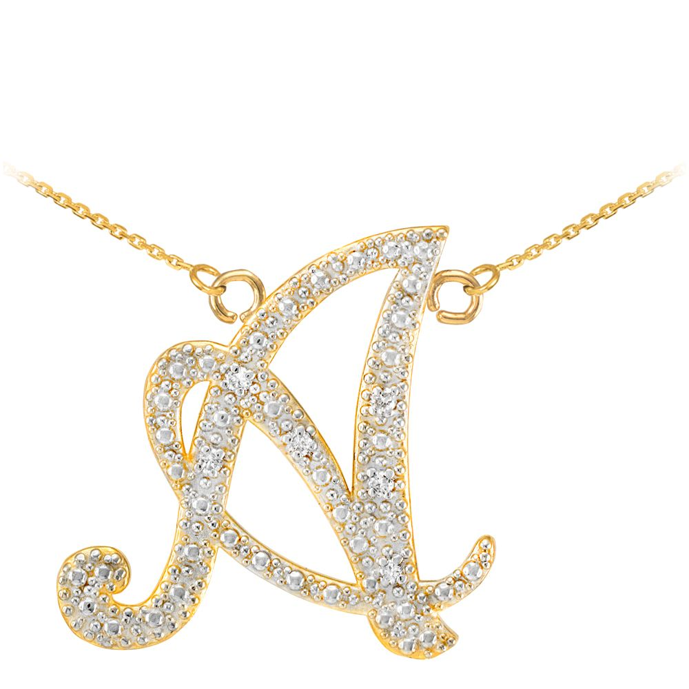 yellow gold chain pjimage chains c initials pendant initial hammered trace