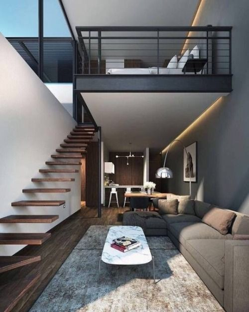 Creative sleeping areas for open plan homes warm minimal design with floating stairs and loft also best  tasar  images in rh pinterest