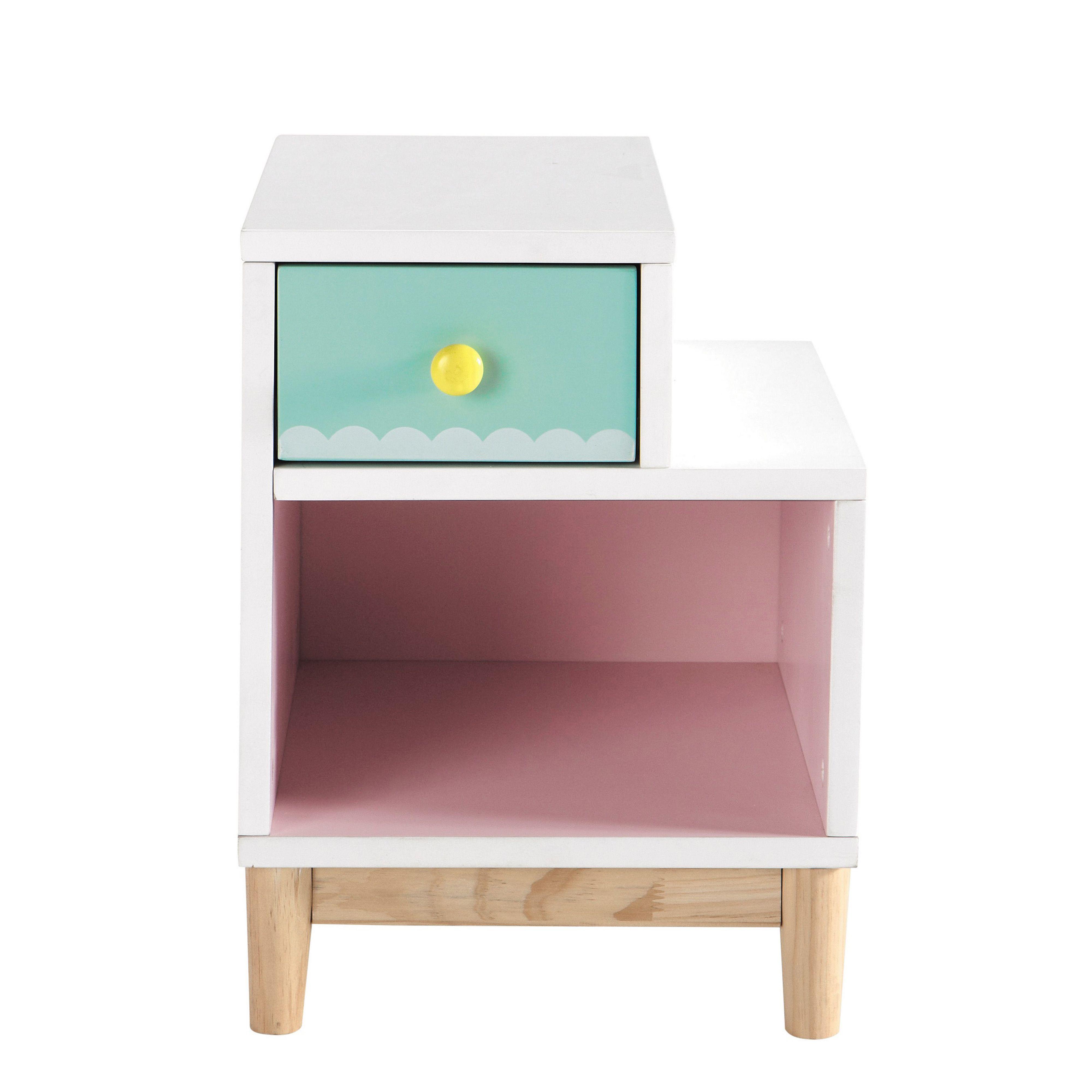 Table de chevet enfant en bois rose L 40 cm Berlingot | Chambre ...