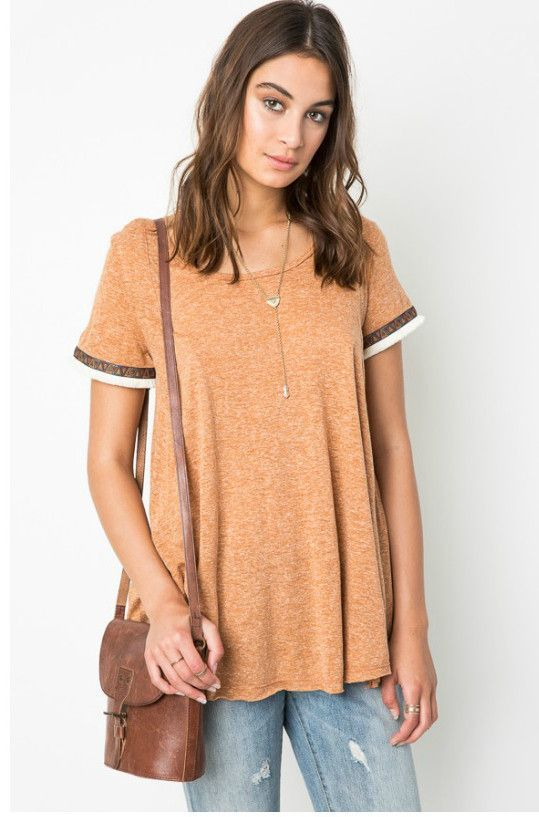 Hayden Los Angeles Women's Camel Embroidered Tribal T-Shirt