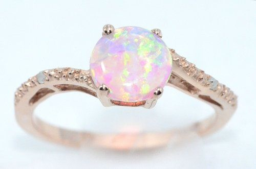 14Kt Rose Gold Plated Pink Opal /& Diamond Round Ring