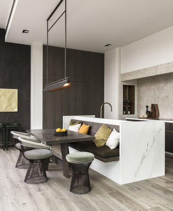 rethink your kitchen island with banquette seating
