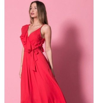 e7cd772a00c3 Κρουαζέ Maxi Φόρεμα με Βε Ραντάκι και Βολάν - Κόκκινο