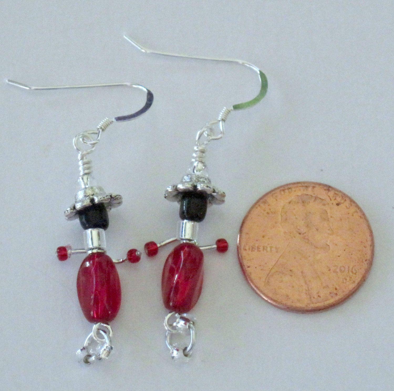 My Peeps Earrings Red & Black Whimsical Jewelry Fantasy Sterling ...