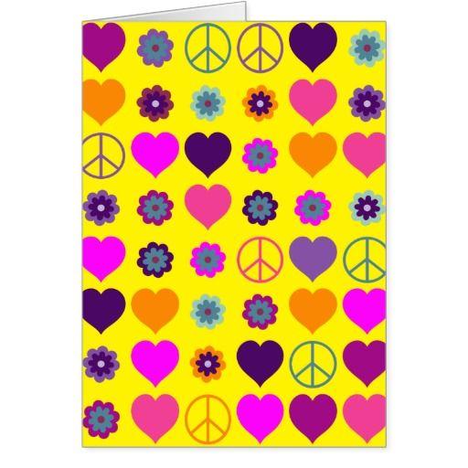 Modelo de la paz del corazón del flower power + su