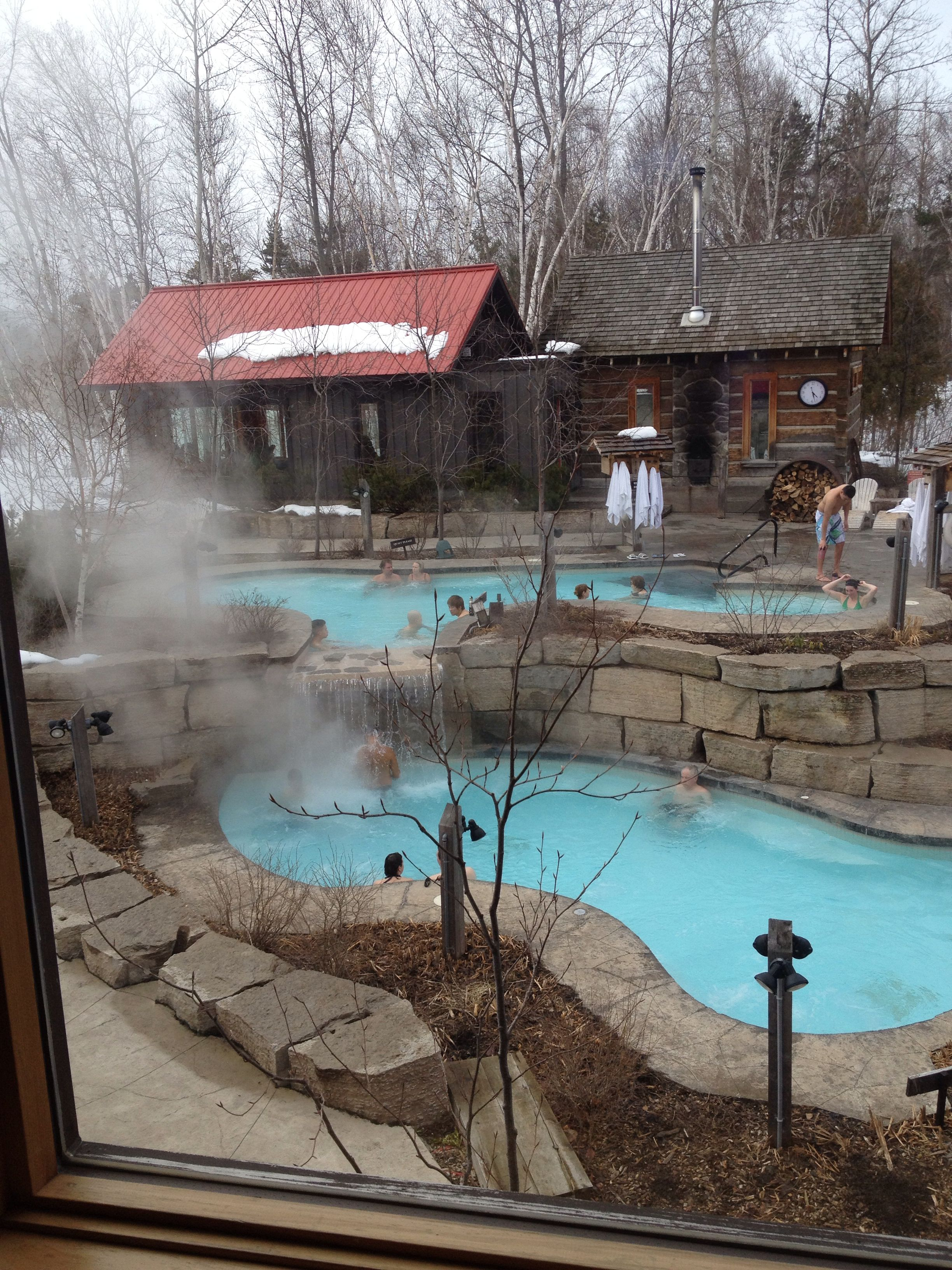 Scandinavian Spa In Collingwood Ontario Multiple Hot Pools And Cooling Off Pools As Well Sauna S Both Dry Outdoor Seating Outdoor Seating Areas Seating Area
