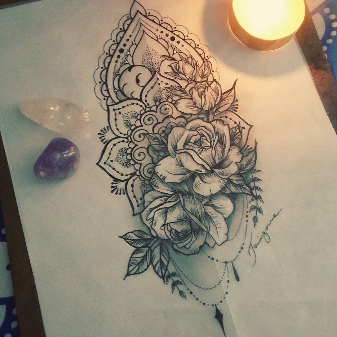 Feito com amor para uma cliente especial 💕 #tattoo #drawing #taizane #mandala #ornamentaltattoo #rosetattoo #floraltattoo