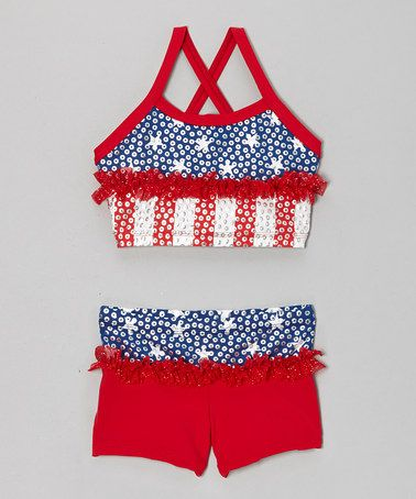 Take a look at this Blue & Red Stars Ruffle Crop Top & Shorts - Girls by Lexi-Luu Designs on #zulily today!
