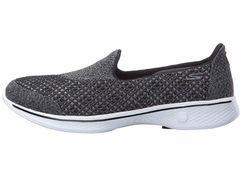 #Skechers Go Walk 4 Kindle Black Womens Slipon Shoes aT9CQ