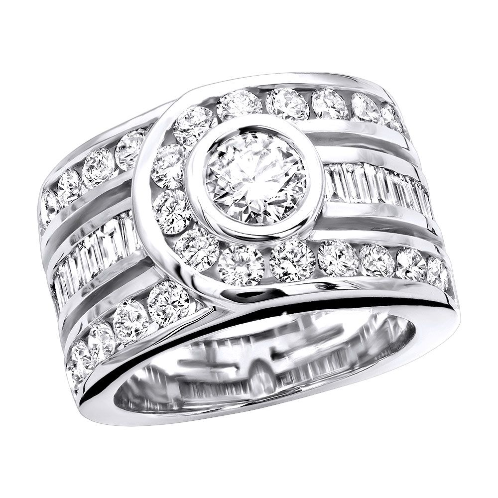 Unique 14K Gold Right Hand Diamond Ring for Women 3.01ct