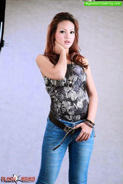 Myanmar Model Girls Nang Khin Zay Yar In Strapless Top Amp