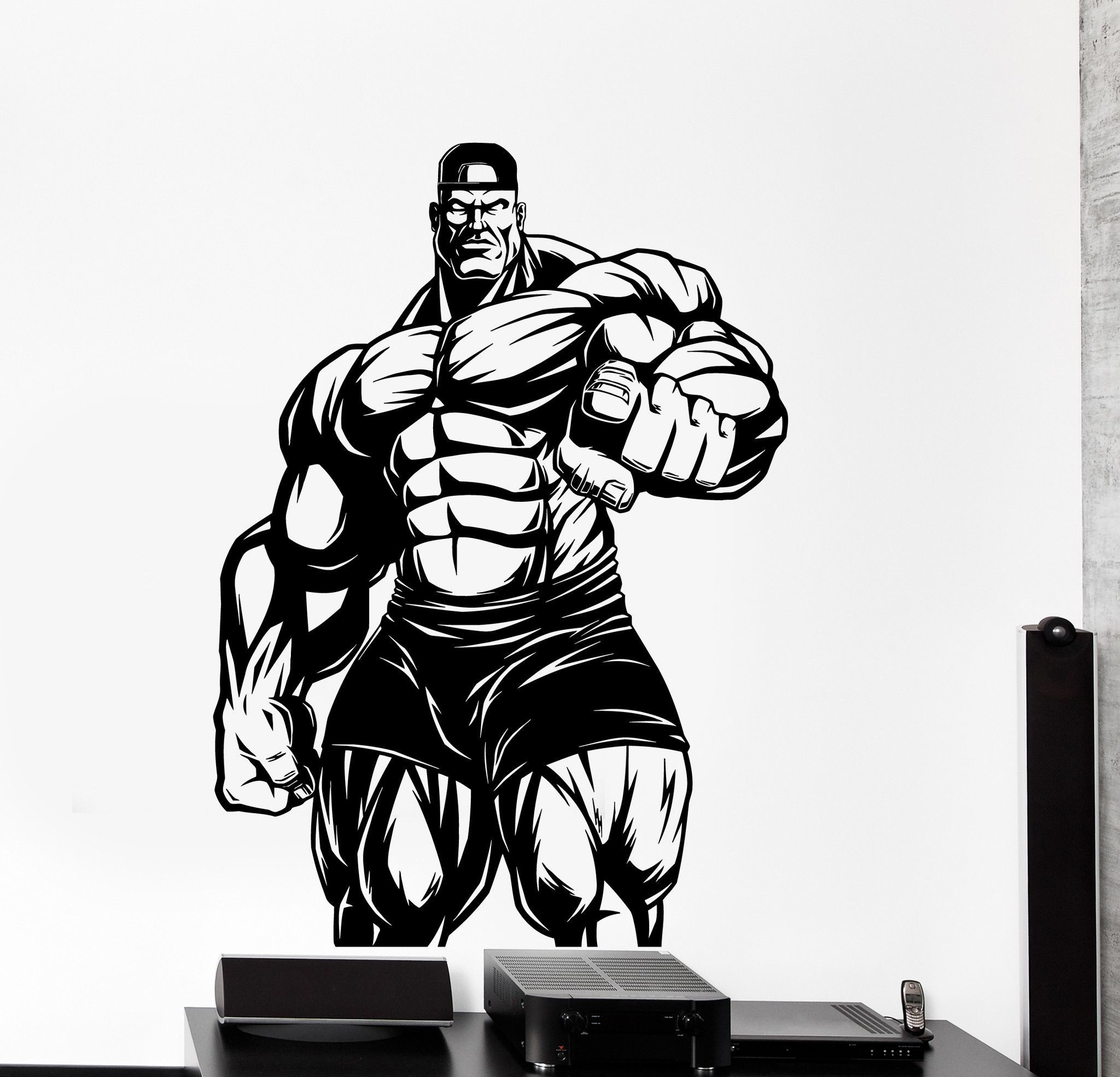 Wall Vinyl Decal Bodybuilding Bodybuilder Iron Sport Home Interior Decor  z4226 e80b146fa03
