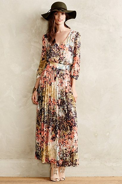 Equinox pleated maxi dress for Anthropologie mural maxi dress