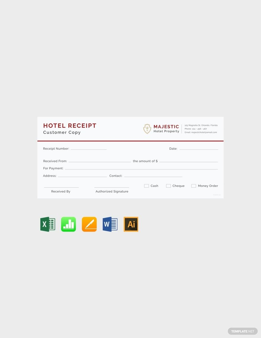 Simple Hotel Receipt Template Free Pdf Word Doc Excel Apple Mac Pages Illustrator Apple Mac Numbers Receipt Template Invoice Template Word Words