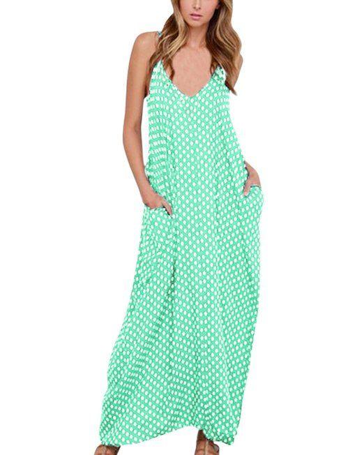 aeeb9a3ff49d25 ZANZEA Donne Scollo a V Pois Tasca Vestito lungo Abito della Boemia Abito  da Sera del Partito Vestito mare Vestito estivo: Amazon.it: Abbigliamento