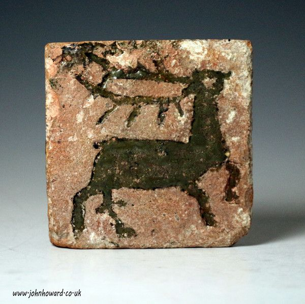 Medieval Floor Tile With Figure Of A Running Stag English 14th Century Antique Staffordshire Pottery Of John Howar Medieval Antique Tiles Antique Pottery