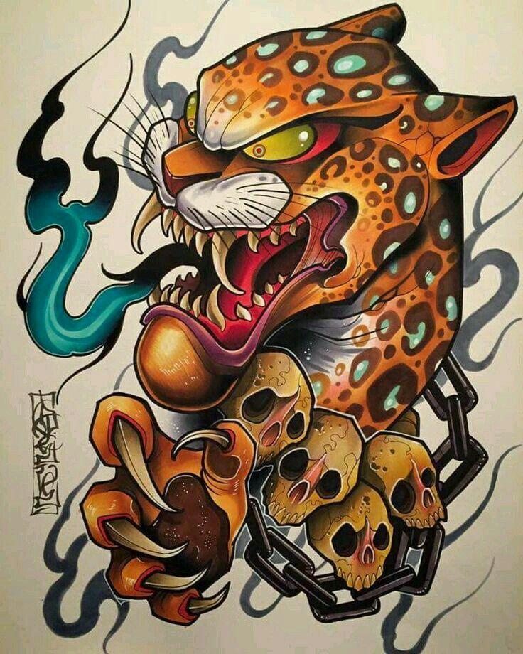 Cheetah Japanese tattoo art, Tattoo flash art, Sketch