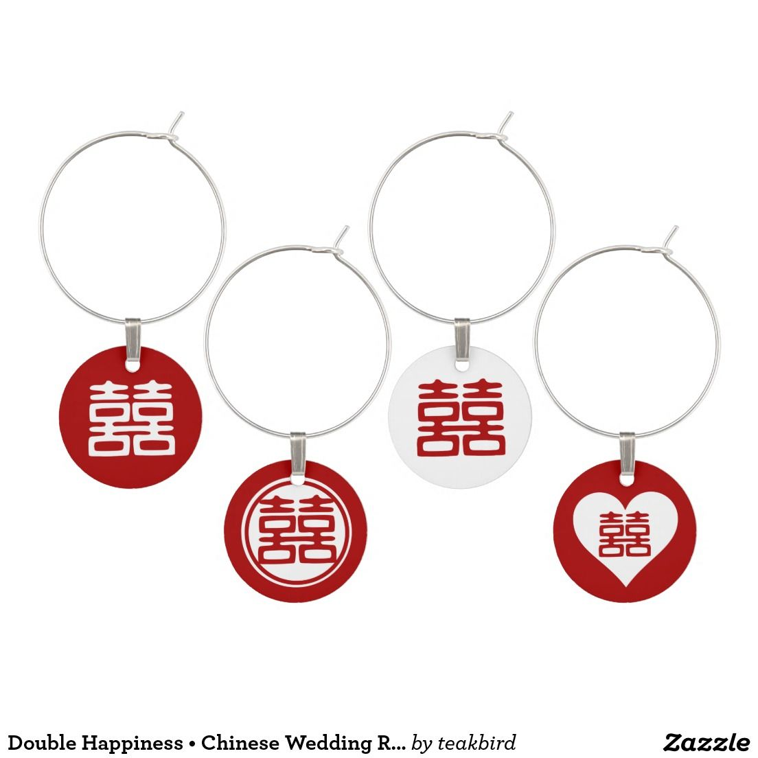 Double Happiness • Chinese Wedding Red Wine Charms