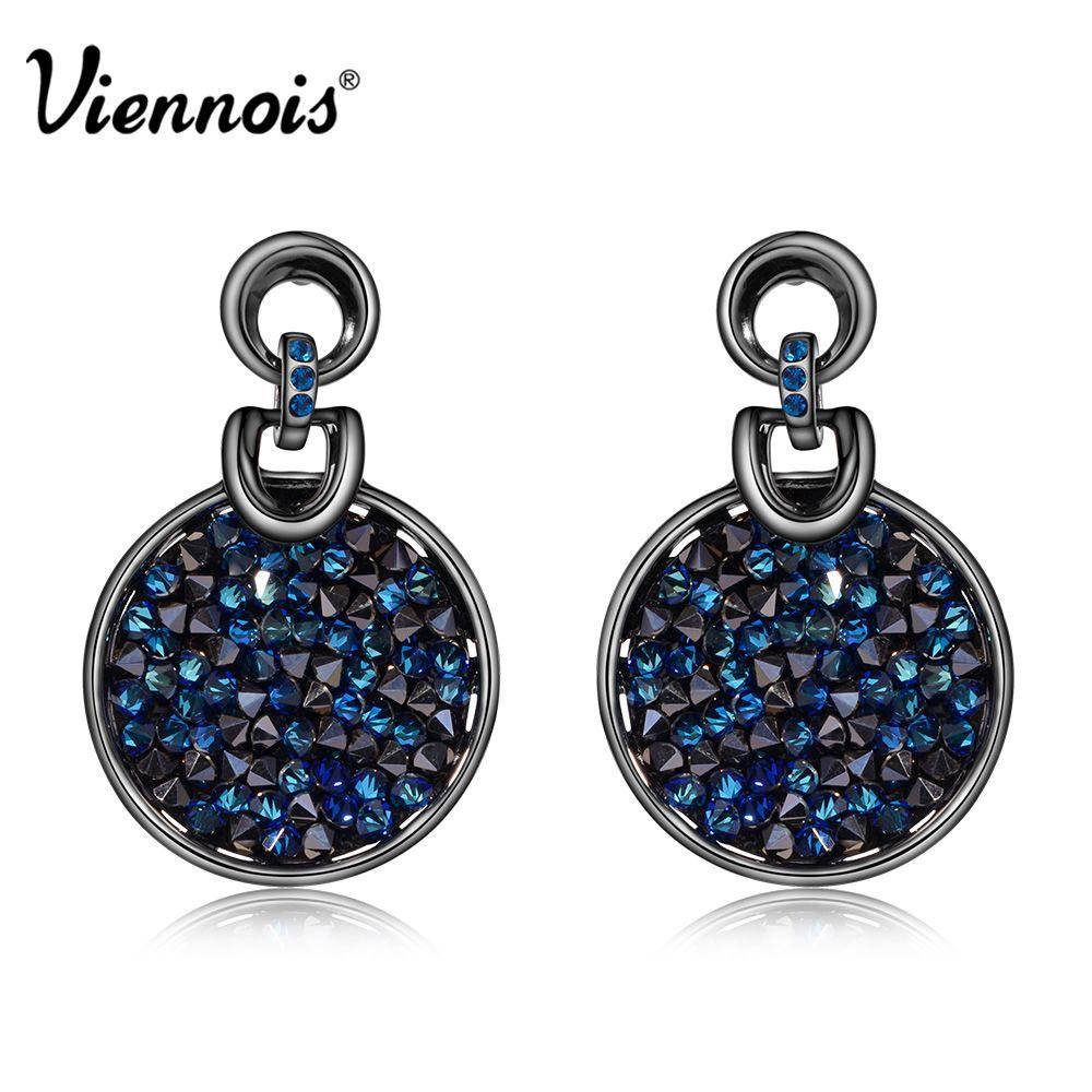 Lily Jewelry Fashion Blue Sapphire Rhinestone Crystal Swarovski Elements Drop Earings For Women BWOUS92MT